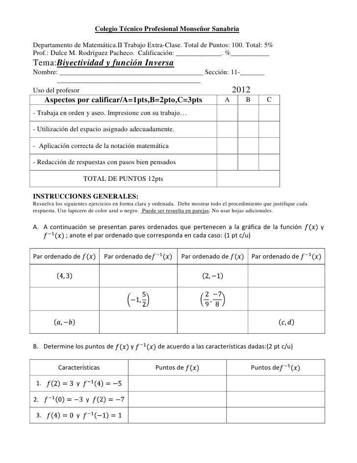 Colegio Técnico Profesional Monseñor SanabriaDepartamento de Matemática.II Trabajo Extra-Clase. Total de Puntos: 100. Tota...