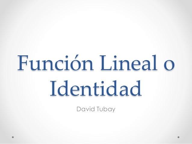 Función Lineal o Identidad David Tubay