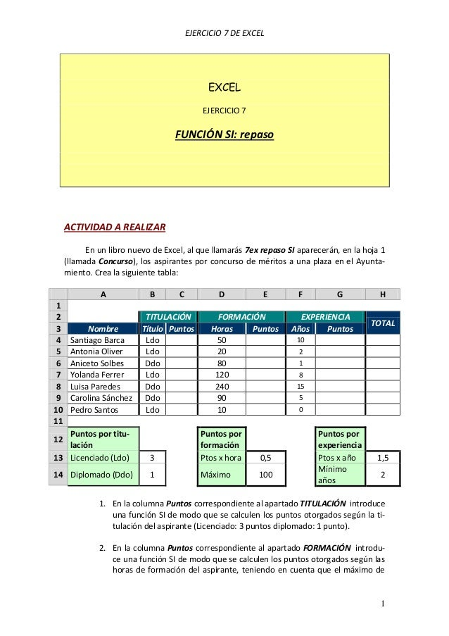 EJERCICIO 7 DE EXCEL 1 EXCEL EJERCICIO 7 FUNCIÓN SI: repaso ACTIVIDAD A REALIZAR En un libro nuevo de Excel, al que llamar...