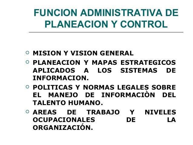 FUNCION ADMINISTRATIVA DE PLANEACION Y CONTROL  MISION Y VISION GENERAL  PLANEACION Y MAPAS ESTRATEGICOS APLICADOS A LOS...