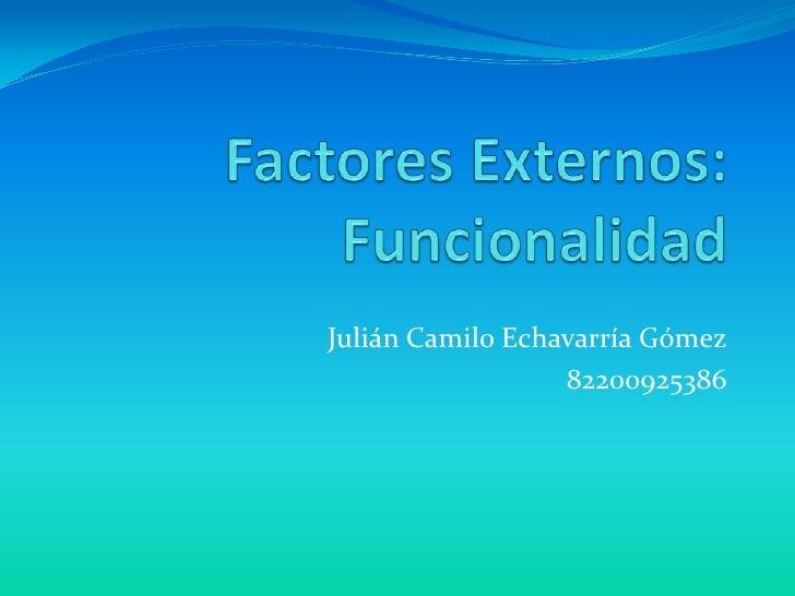 Factores Externos:Funcionalidad<br />Julián Camilo Echavarría Gómez<br />82200925386<br />