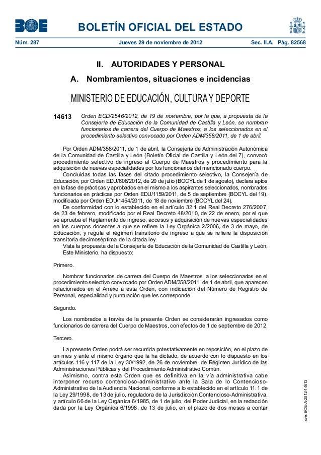 BOLETÍN OFICIAL DEL ESTADONúm. 287                              Jueves 29 de noviembre de 2012                         S...