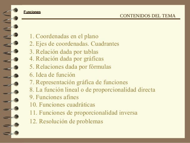 FuncionesFunciones 1. Coordenadas en el plano 2. Ejes de coordenadas. Cuadrantes 3. Relación dada por tablas 4. Relación d...