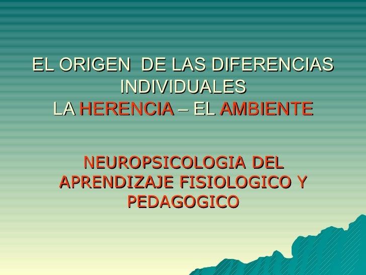 EL ORIGEN  DE LAS DIFERENCIAS INDIVIDUALES LA  HERENCIA  – EL  AMBIENTE NEUROPSICOLOGIA DEL APRENDIZAJE FISIOLOGICO Y PEDA...
