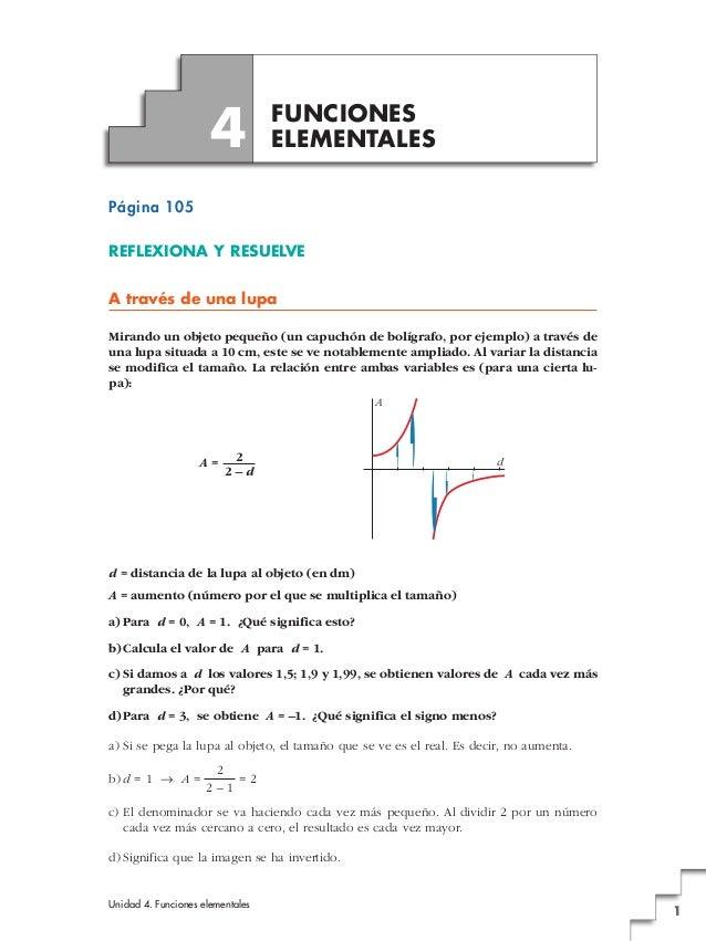Unidad 4. Funciones elementales 1 Página 105 REFLEXIONA Y RESUELVE A través de una lupa Mirando un objeto pequeño (un capu...
