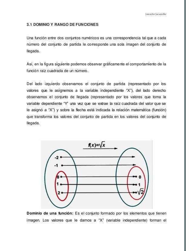 Jennifer Jaramillo 3.1 DOMINIO Y RANGO DE FUNCIONES Una función entre dos conjuntos numéricos es una correspondencia tal q...