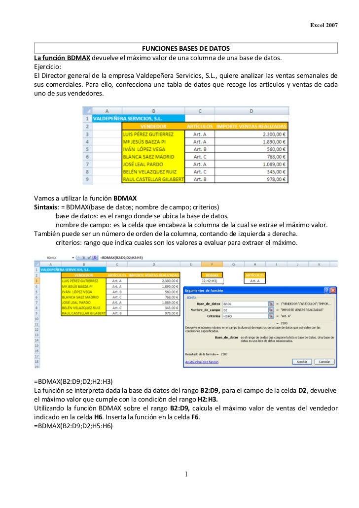 Funciones base de datos