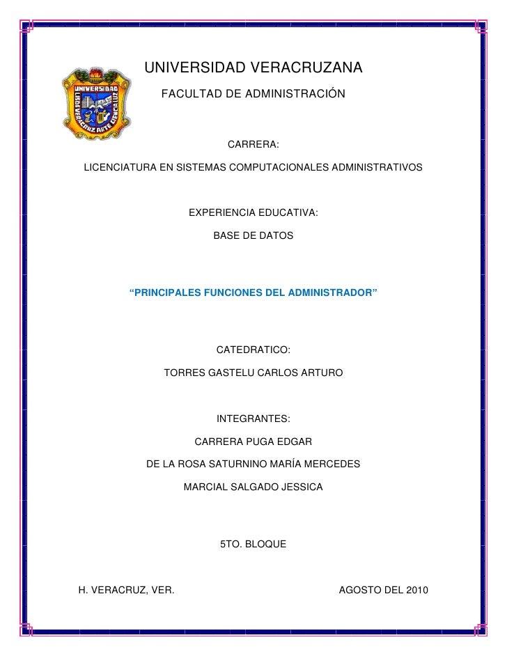 -13716011938000UNIVERSIDAD VERACRUZANA<br />FACULTAD DE ADMINISTRACIÓN<br />CARRERA:<br />LICENCIATURA EN SISTEMAS COMPUTA...