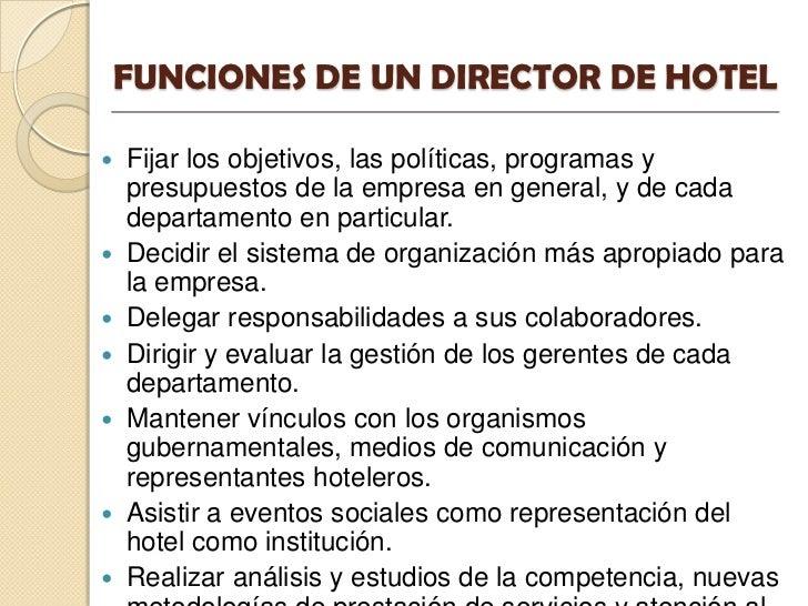 Funciones del director for Areas de cocina y sus funciones