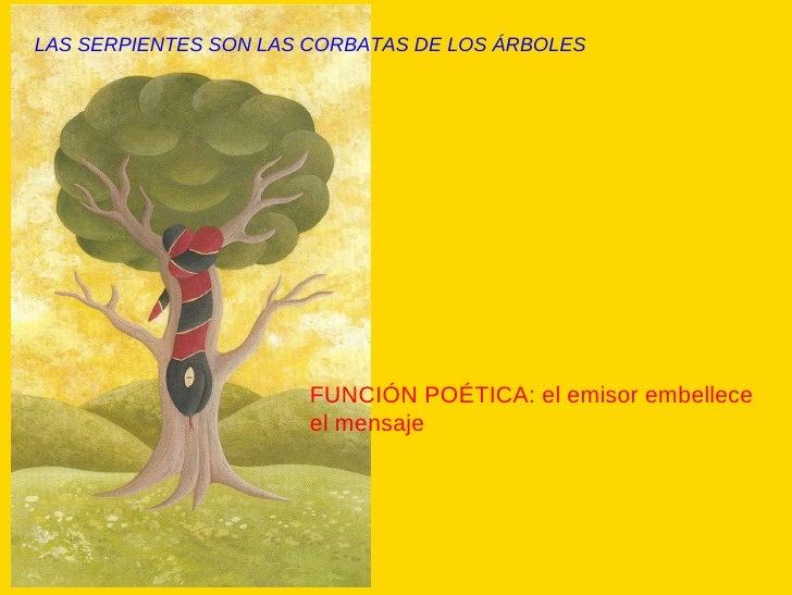 LAS SERPIENTES SON LAS CORBATAS DE LOS ÁRBOLES FUNCIÓN POÉTICA: el emisor embellece el mensaje