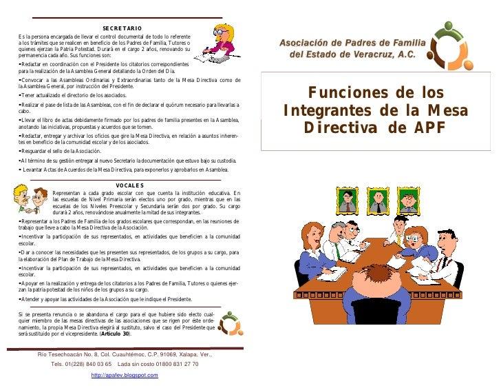 Funciones de los integrantes de la Mesa Directiva de la APF