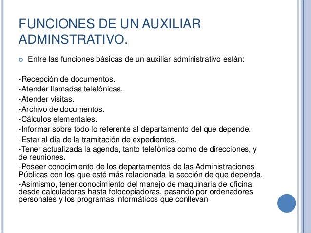 Funciones de un auxiliar administrativo for Funciones de una oficina wikipedia