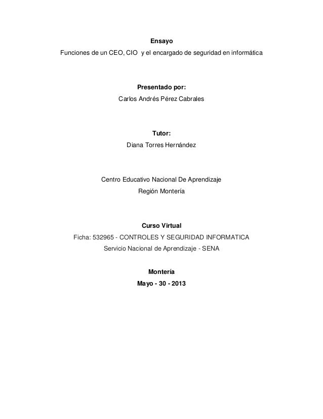 Ensayo Funciones de un CEO, CIO y el encargado de seguridad en informática Presentado por: Carlos Andrés Pérez Cabrales Tu...