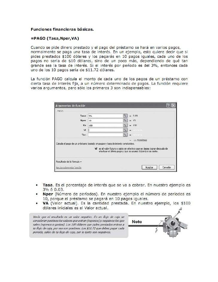 FUNCIONES FINANCIERAS         ESPAÑOL                                           INGLES=PAGO(Tasa,Nper,Va,vf,tipo)         ...