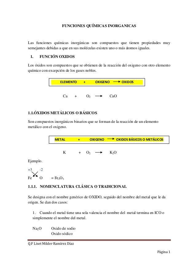 FUNCIONES QUÍMICAS INORGANICASLas funciones químicas inorgánicas son compuestos que tienen propiedades muysemejantes debid...