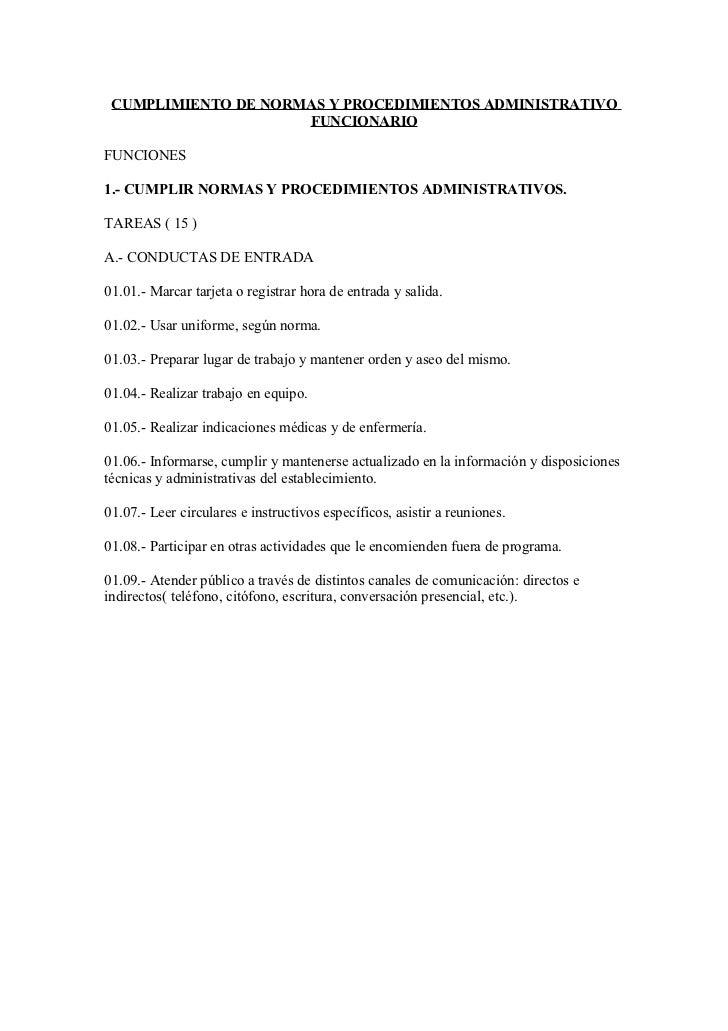 CUMPLIMIENTO DE NORMAS Y PROCEDIMIENTOS ADMINISTRATIVO                     FUNCIONARIOFUNCIONES1.- CUMPLIR NORMAS Y PROCED...