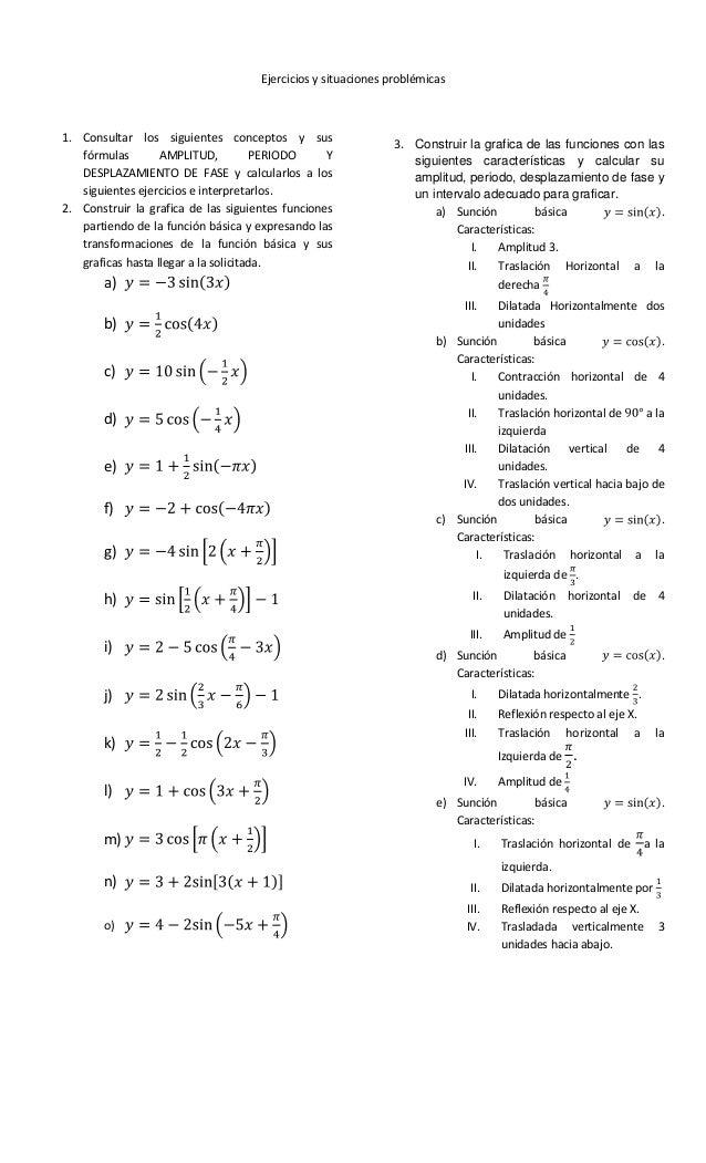Funciones trigonometricas transformaciones de las funciones seno y c