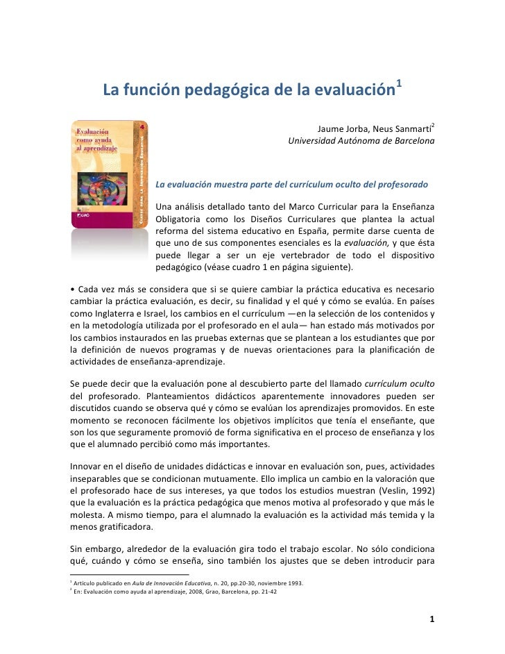 Funcion pedagógica de la evaluación