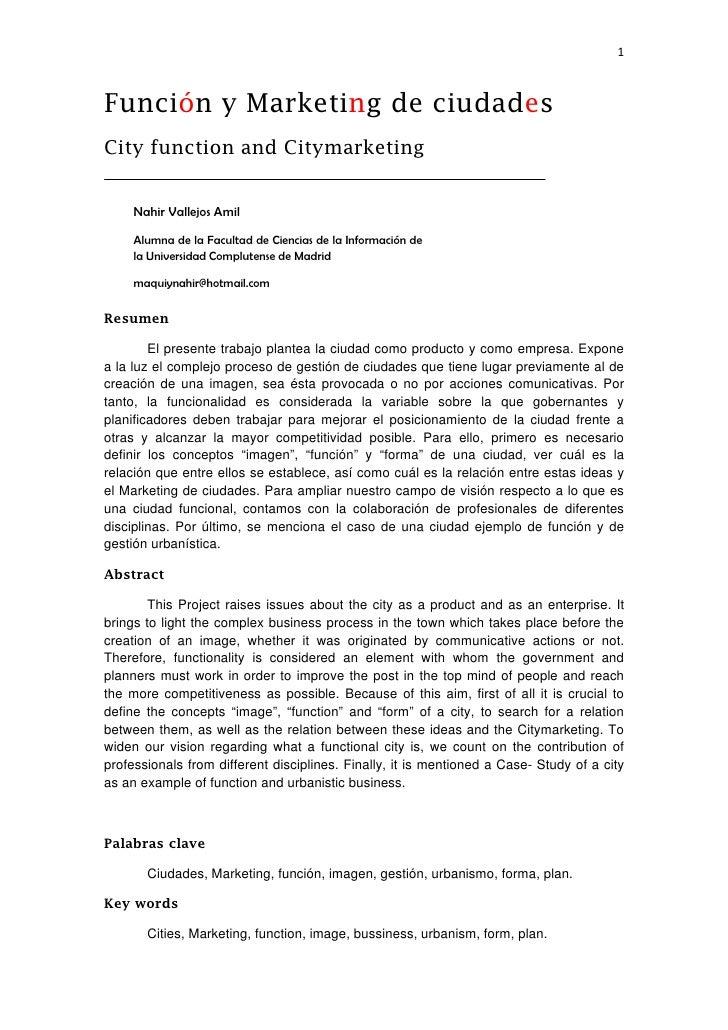 1Función y Marketing de ciudadesCity function and Citymarketing     Nahir Vallejos Amil     Alumna de la Facultad de Cie...