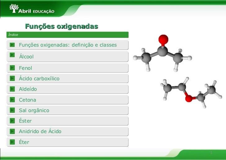 Funções oxigenadas Índice Álcool Fenol Funções oxigenadas: definição e classes Ácido carboxílico Aldeído Cetona Sal orgâni...