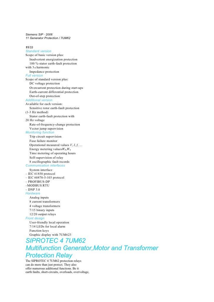 Function overview Description Siemens SIP · 2006 11 Generator Protection / 7UM62 11 11/33 Standard version Scope of basic ...