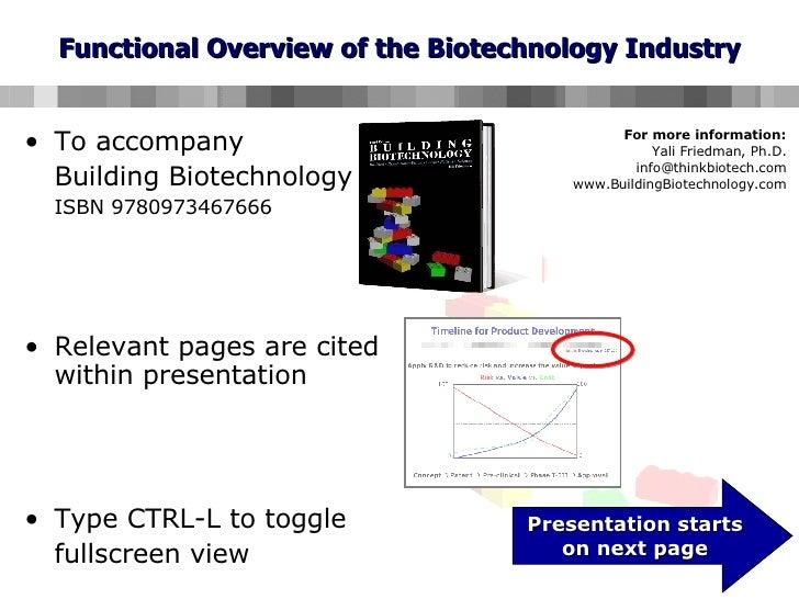 Functional Overview of the Biotechnology Industry <ul><li>To accompany  </li></ul><ul><li>Building Biotechnology  </li></u...