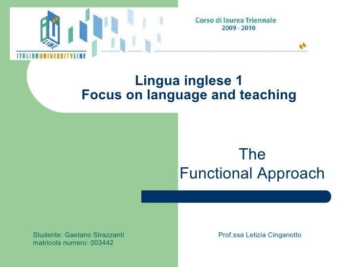 Lingua inglese 1 Focus on language and teaching Studente: Gaetano Strazzanti  Prof.ssa Letizia Cinganotto matricola numero...