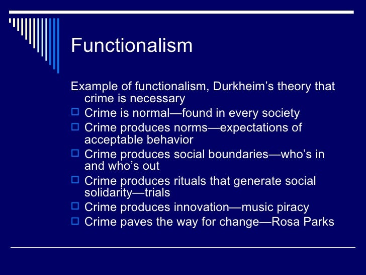Functionalist perspective of crime