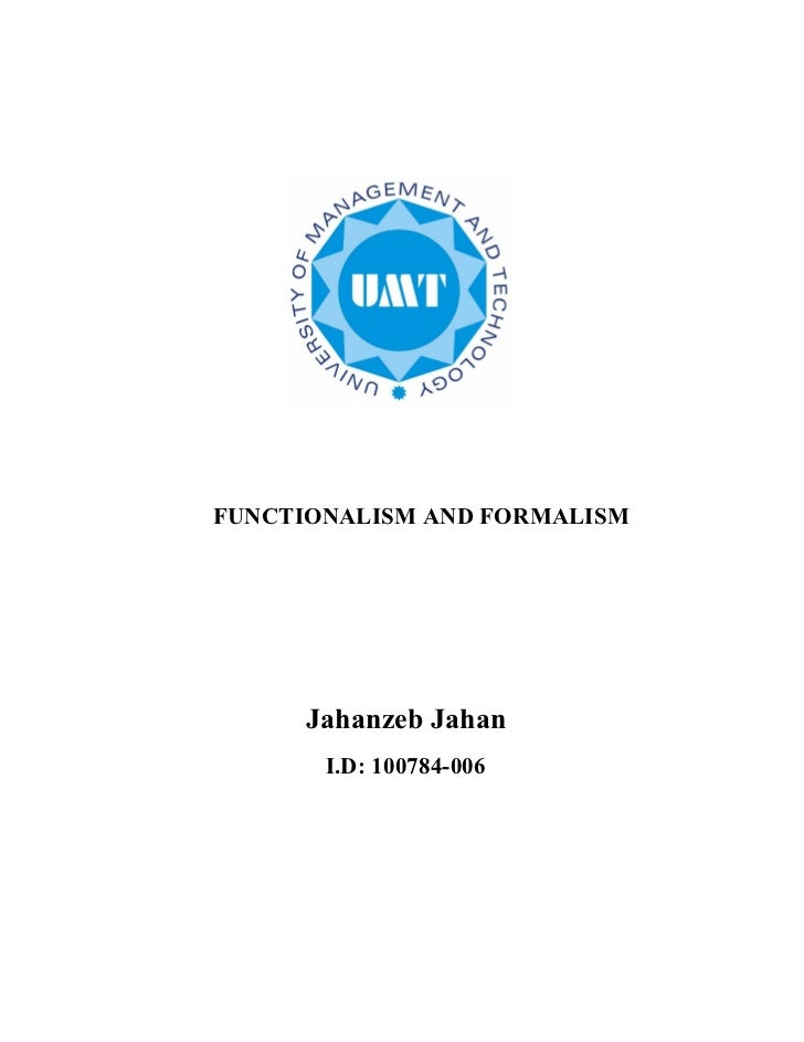 Functionalism and formalism