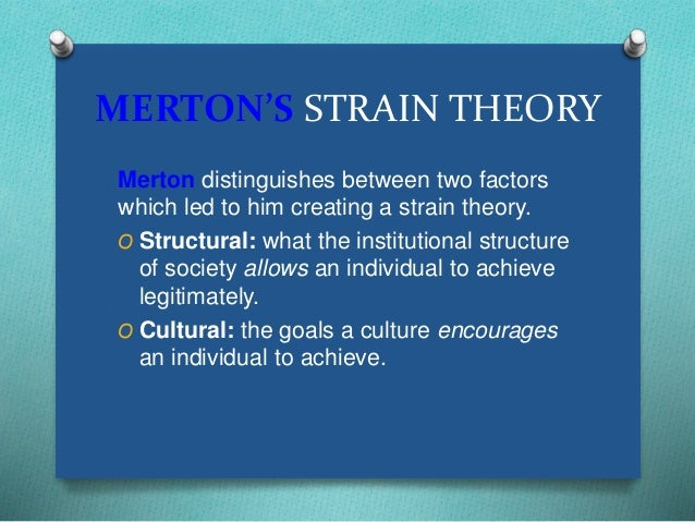 the topic of the american dream and the strain theory by robert merton