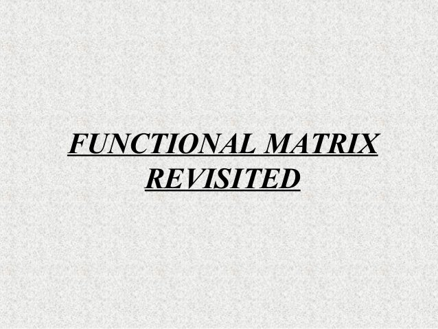 FUNCTIONAL MATRIX REVISITED