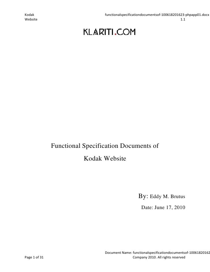 Functional specification documents of
