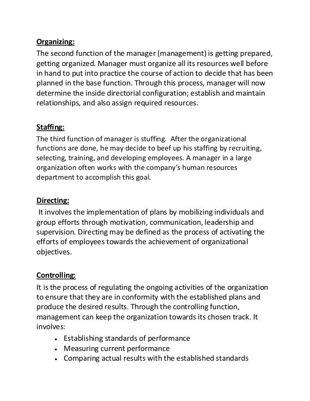 factors on the four functions of management essay Four functions of management introduction every business entity or organization, whether big or small, needs to develop and implement.