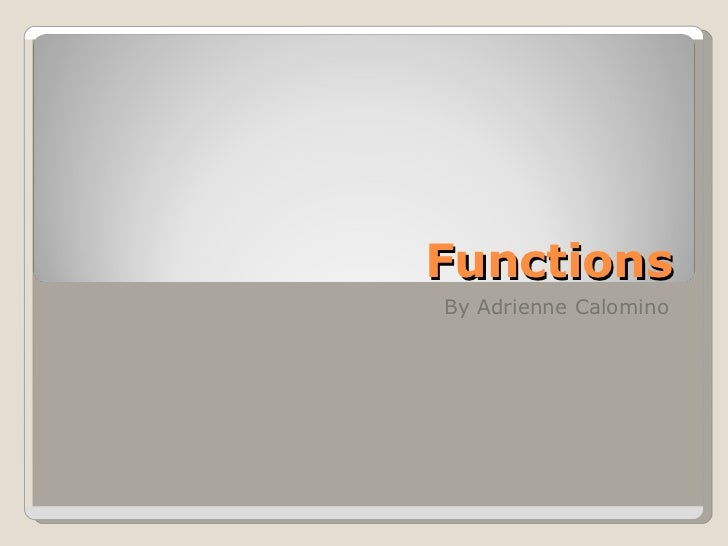 Functions By Adrienne Calomino