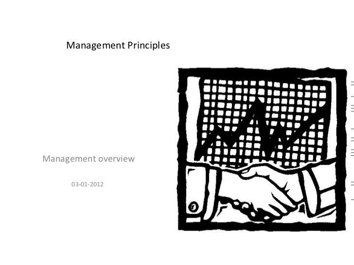 Management Principles Management overview 03-01-2012
