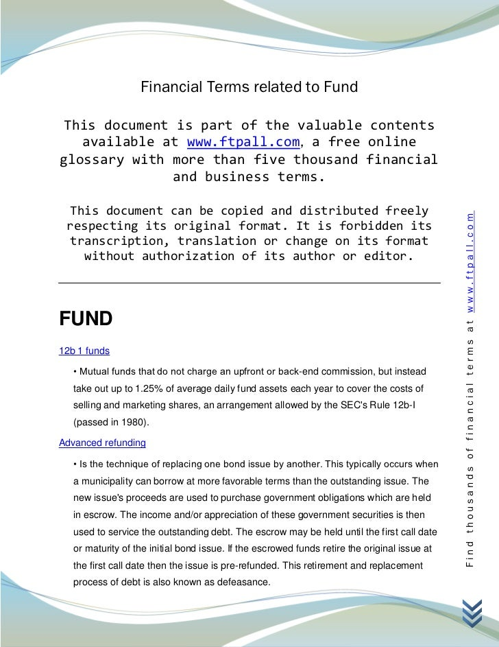 Financial Terms related to Fund This document is part of the valuable contents   available at www.ftpall.com, a free onlin...