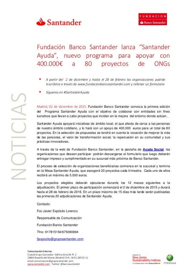Fundaci n banco santander lanza santanderayuda programa for Oficina banco santander valladolid