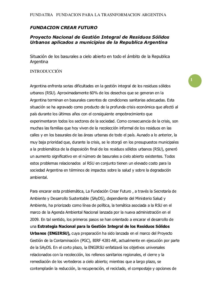 FUNDATRA FUNDACION PARA LA TRASNFORMACION ARGENTINAFUNDACION CREAR FUTUROProyecto Nacional de Gestión Integral de Residuos...