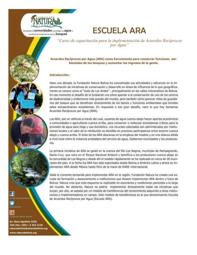 Fundacion natura bolivia escuela ara