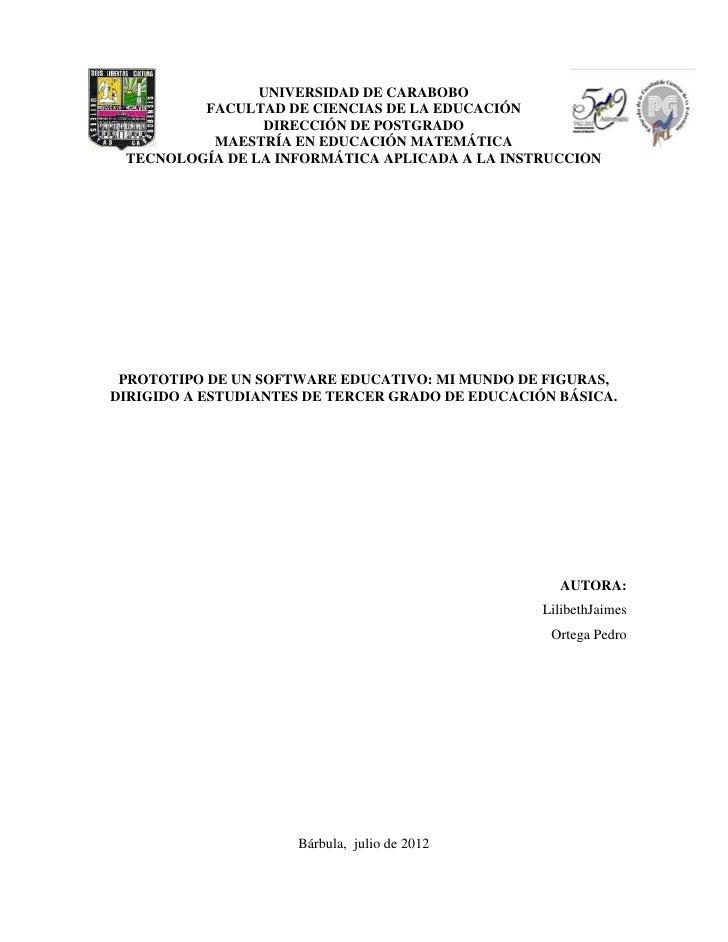 UNIVERSIDAD DE CARABOBO         FACULTAD DE CIENCIAS DE LA EDUCACIÓN                DIRECCIÓN DE POSTGRADO          MAESTR...