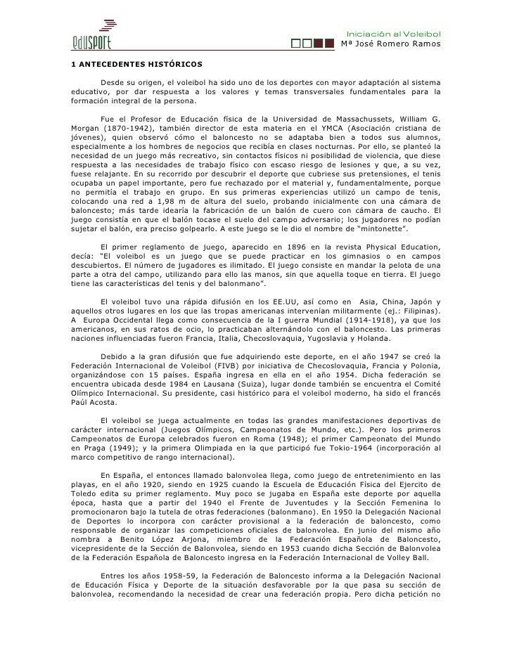 Iniciación al Voleibol                                                                       Mª José Romero Ramos1 ANTECED...
