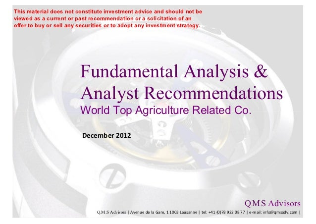 Fundamental Analysis & Financial Analyst Recommandations - Agriculture…