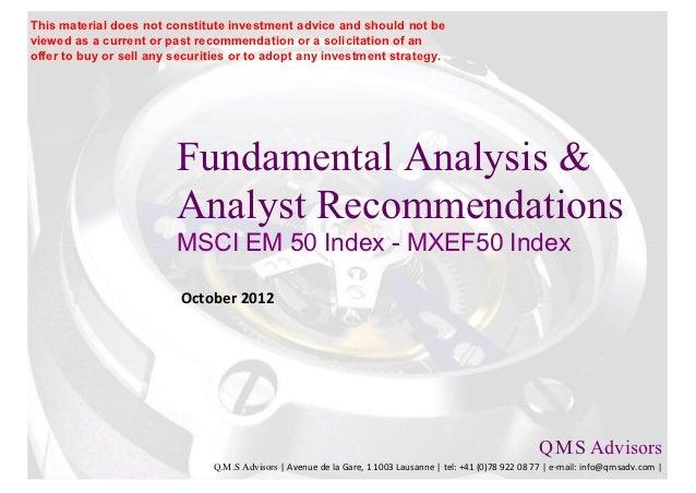 Fundamental Analysis & Analyst Recommendations - MXEF50 Index (MSCI EM 50) Members