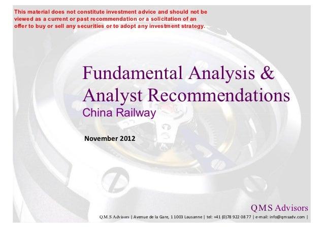 Fundamental Analysis & Financial Analyst Recommandations - China Railw…