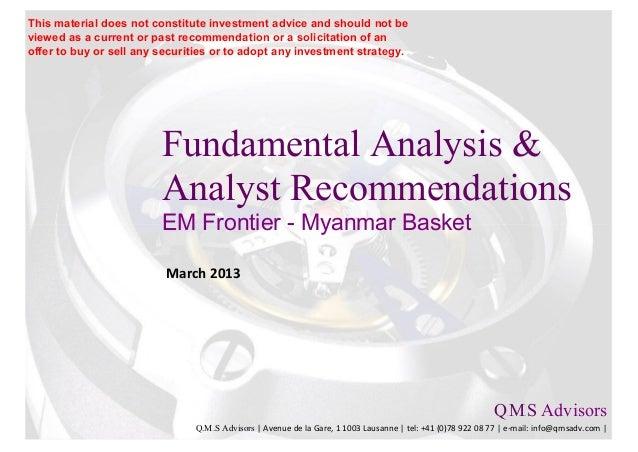 Fundamental Analysis & Analyst Recommendations - EM Frontier Myanmar Basket