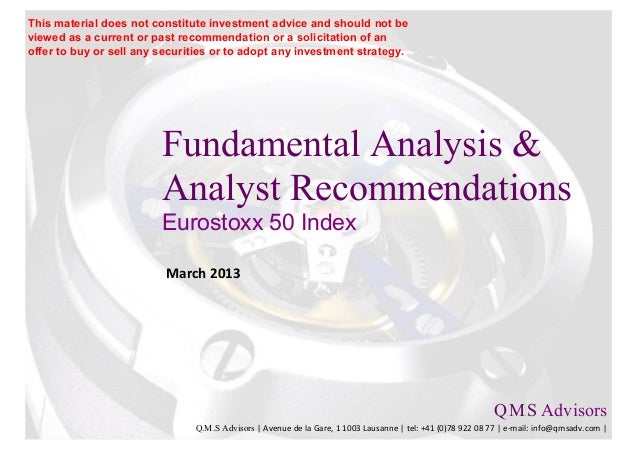 Fundamental Analysis & Analysts Recommendations - Eurostoxx 50 Index - SX5E Index
