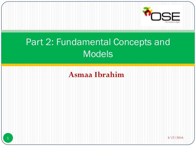 Asmaa Ibrahim Part 2: Fundamental Concepts and Models 3/17/20141