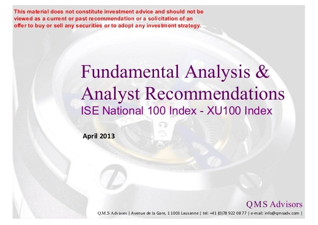 Fundamental Equity Analysis - ISE National 100 Index Members (XU100 Index)