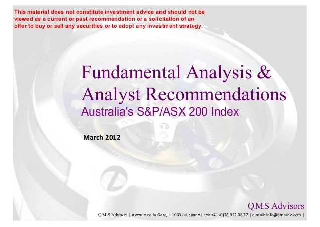 Fundamental Equity Analysis - Australia S&P/ASX 200 Components