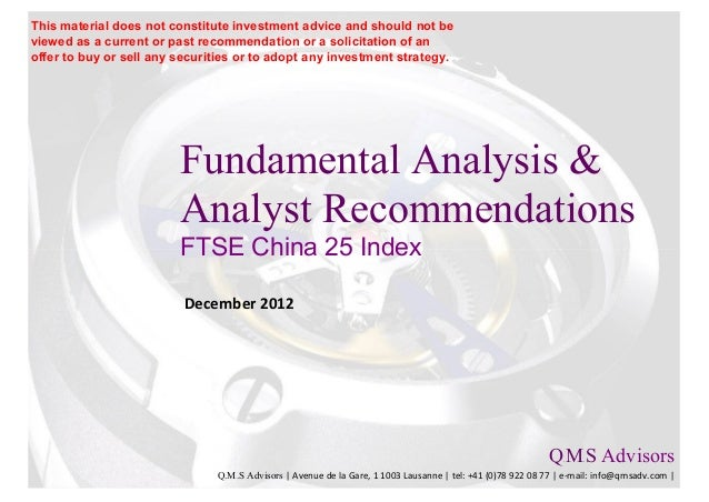 Fundamental Analysis & Financial Analyst Recommandations - FTSE China 25